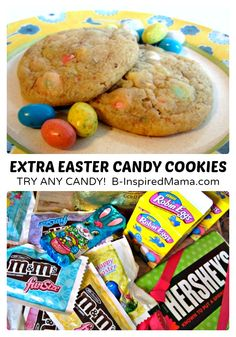Extra Easter Candy Cookies Recipe at B-Inspired Mama #Easter #cookies #funfood