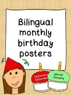 Bilingual - Monthly birthday cupcake posters