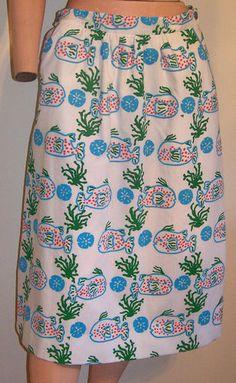 Puff fish/Sand dollar Vintage Vested Gentress Novelty Preppy Print Skirt 6 | eBay