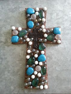 DIY cross with marbles. This blog has the instructions and lots of other cute crafts too.
