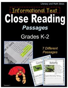 (Grades K-2) Informational Text Close Reading Passages-- Seven informational text passages for close reading practice. $