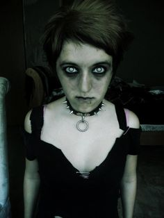 #pierced #possessed #spikes #zombie #halloween #makeup #costume #punk #goth .