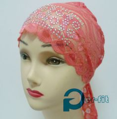 Lace chemo bonnet fashion muslim cap hat .