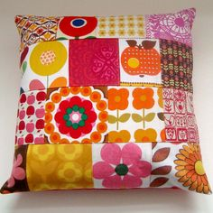 Vintage Retro Scandinavian Fabrics Patchwork  Pillow / Cushion Cover - Hot Pink Red Orange Yellow via Etsy. pillow, retro fabric, vintage cushions, retro cushions, cushion covers, yellow cushion, cushions covers