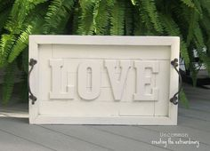 Pottery Barn Knock-Off...{ LOVE wall art plaque } #DIY #sign #letters #wall #tray