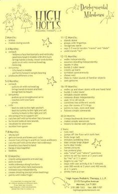 Developmental Milestones Part of being a CASA is being able to evaluate how your child is doing developmentally.  Are they on track? Have the reach the goals normally assumed for their age?  Here is a helpful list from High Hopes Pediatric Therapy of things to look for to make sure your CASA child is developing properly.
