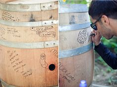wine barrel guest book - could use it as a side table after the wedding.