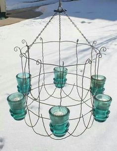 Wire Garden Fence & Insulator Chandelier