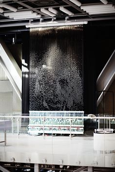 """Pipedream"" by Bruce Shapiro – The pipe screen of this kinetic instalation displays popular images like Mona Lisa or Marilyn Monroe photos consisting of air bubbles. (This one is Einstein.) You can also be portrayed if you take a photo of yourself according to given instructions, and soon it will appear on the ""Pipedream.""  ...part of the Art + Science Collection at the Copernicus Science Centre in Warsaw, Poland    - photo by Paulina Skoczylas"