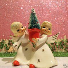Vtg Christmas Angel Girl Candle Holder W Bottle Brush Tree ~ Gold Stars Dress