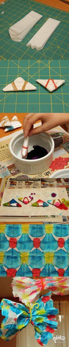 Tie-dye tissue paper and turn them into colorful butterflies. An Original #kids #craft by www.piikeastreet.com #piikeastreet