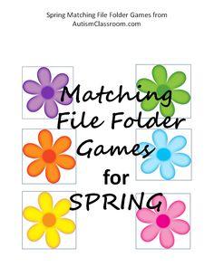 Spring Matching File Folder Games (Umbrellas, Flowers, Patterns)