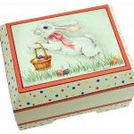 Celebrate #Easter with this wooden box decorated with an energetic bunny on the lid, which features five of the newest Americana colors. Decorative painting.