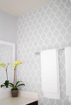 steciled bathroom wall