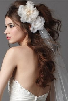 little too curly, but i love everything abou this. the hair, the veil, the flower