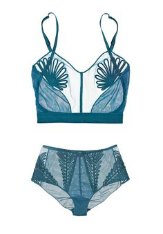 Jean Paul Gaultier for  LA PERLA Feuillage long-line tulle bra and high waisted briefs