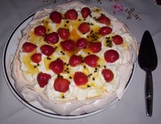 strawberry & passionfruit pavlova