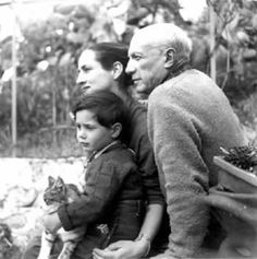 Picasso, Francoise Gilot & son Claude   with cat, 1952 | photo by Boris Lipnitzki