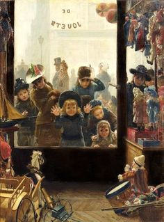 french artist, christmas time, timoléon mari, shops, toys, children, mari lobrichon, paint, shop windows