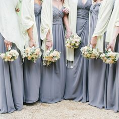 Bridesmaids in Monique Lhuillier. See the wedding on #SMP here - http://www.StyleMePretty.com/2014/04/18/classic-english-wedding-at-the-bodleian-library/ Photography: Stephanie Swann Weddings - stephanieswannweddings.co.uk