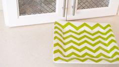 Green Chevron Square Platter - perfect serving piece!