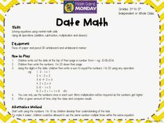 Date Math! Perfect for Grades 3 upwards!