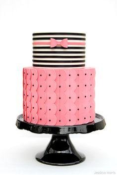 Pink & Black Ruffles by Jessica Harris  |  TheCakeBlog.com