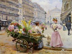 The Flower Seller, Avenue de l'Opera, Paris, 1895. (Louis-Marie de Schryver)