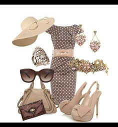 I wore a brown dress with cream polka dots to the Kentucky Derby with a cream hat! Felt like Petty Woman at the polo match