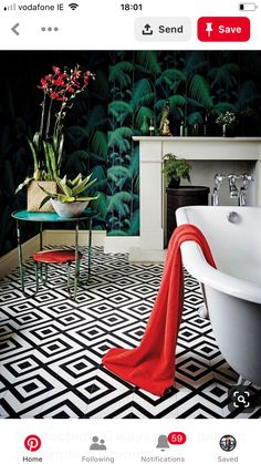 Love this print clash in the bathroom
