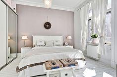 Beautiful pink bedroom in a Scandinavian apartment