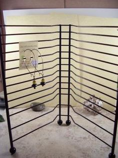Old cd rack to jewelry holder.