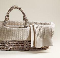 Cable Knit Moses Basket Bedding & Ash Basket Set | Moses Basket & Bassinet Bedding | Restoration Hardware Baby & Child