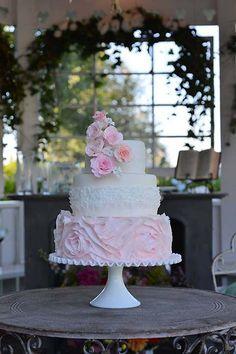 Pastel Pink Romantic Floral Cake