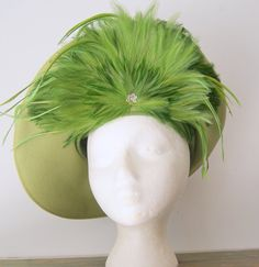 Vintage Olive Green JAck McConnell Feathered Hat by hipandvintage, $75.00