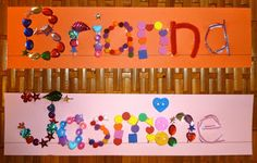name recognition & spelling - tactile name tags craft