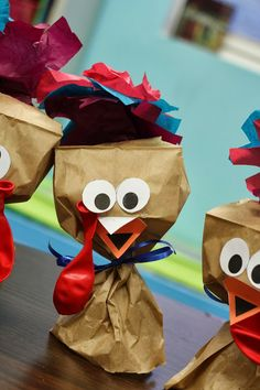 Making Paper bag Turkeys! Reinforce shape identification, color identification, fine motor control, and ability to follow directions.