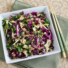 I love this Thai-Style Spicy Cabbage Slaw with Mint and Cilantro so much, I'd even make it in the winter when I have to buy the mint!  [from Kalyn's Kitchen] #LowCarb #GlutenFree #Vegetarian
