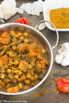 Vegan chickpea curry recipe - a tasty legume based vegan style curry made with high protein chickpeas and sweet potatoes.