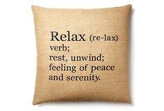 Jute Relax 20x20 Pillow, Natural/Black on OneKingsLane.com