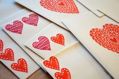 hand-carved and hand-printed valentines via Funnelcloud Studios