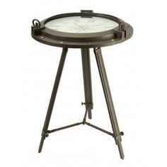 """The rustic-finish """"porthole"""" designed iron table offers a glass surface above the antique white dial of a working clock. Very Cool! #happyfathersday #nauticaltable"""