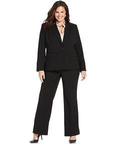 Jones New York Plus Size Julia One-Button Blazer, Easy Care Long-Sleeve Striped Shirt & Sloane Straight-Leg Trousers - Shop All - Plus Sizes...
