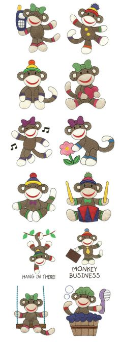 Sock Monkey embroidery designs for baby's room