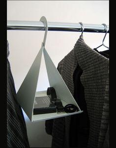 Hanger Shelf Suspends Odds & Ends Alongside Shirts & Suits