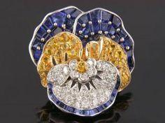 Sapphire Pansy Pin, Ohb spectacular jewelleri, pansi accent, veggi jewelri, stun jewelri, pansies, sapphir pansi, beauti jewel, pansi pin