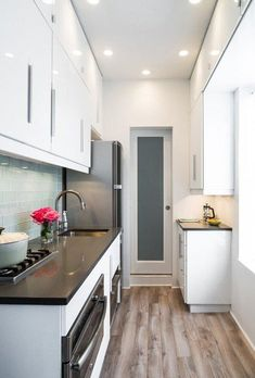 white kitchen cabinets, small townhouse kitchen, space kitchen, floor, small kitchens, pocket doors, kitchen small space, kitchen renovations, white kitchens