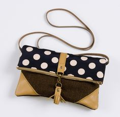 Leather / Polka Dot Foldover Clutch