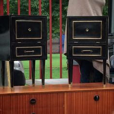 Black and Brass – perfectly paired side tables.