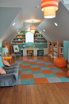 Attic play room ideas  Not a fan of the colors but some good ideas for a FROG